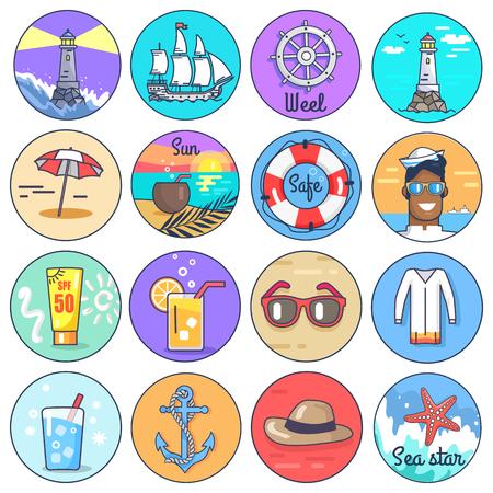 Set of Icons Depicting Multiple Marine Items Illustration