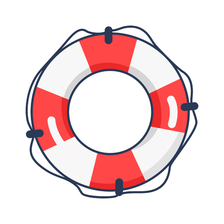 Shiny Striped Life Buoy Isolated Illustration Stock Illustratie
