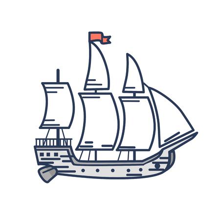 赤い旗の外形図を持つ古い木造船