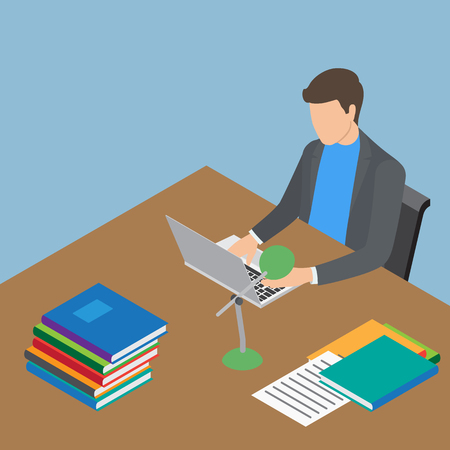 Faceless Male Person Working with Laptop at Table Illustration