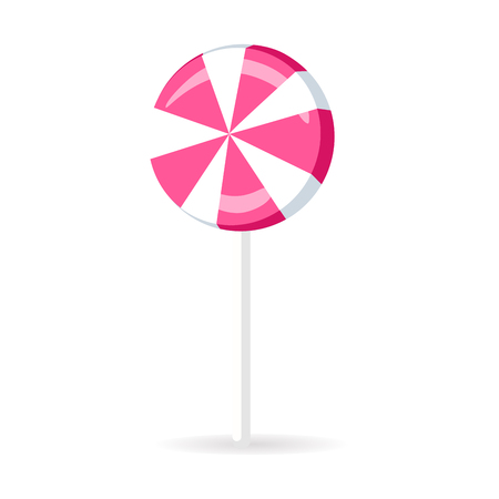 Swirl lollipop round candy isolated on white background. Sweet pink sugar dessert on stick, lolly bonbon icon vector illustration. Colorful caramel in flat style design. Confectionery striped treat