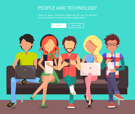 People and technology web banner vector illustration. Males and females sit on bench in wi-fi zone using modern gadgets and getting free internet access Illusztráció