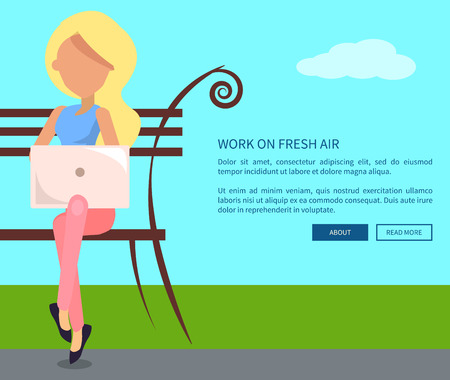 to spend the summer: Work on fresh air conceptual vectorweb banner with text. Woman working on laptop sitting on bench, freelancer with notebook in city park