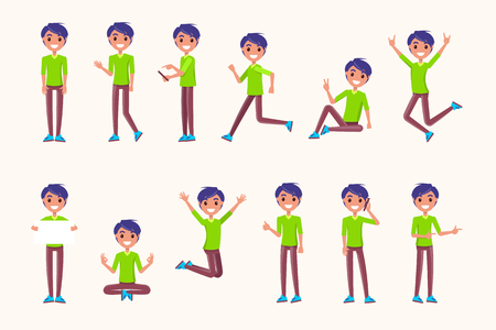 Guy poses in movement, during jump, while running, during rest, non verbal communication signs. Vector illustration of boy meditation, speaking on telephone