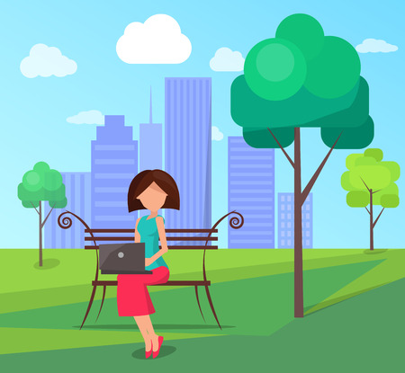 Central city park banner with woman resting on bench with modern laptop gadget searching internet in free wifi zone vector illustration