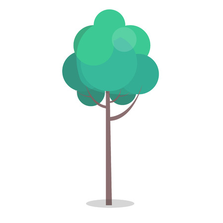 Green tree with long stem isolated on white closeup vector illustration in flat design. Long-lived plant with many leaves on branches Иллюстрация