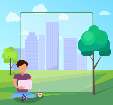 Man using modern computer technologies, internet addiction concept, add text. Free Wi-fi zone in city park on background of skyscrapers web banner. Illustration