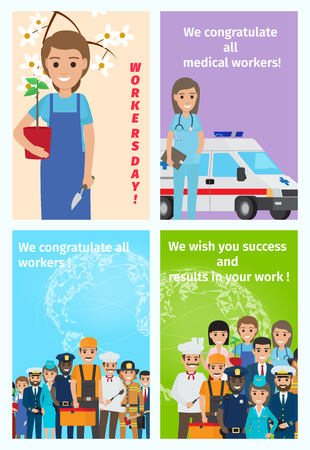Four color congratulatory cards for all workers. Vector illustration of service occupations in cartoon style flat design.