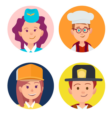 A vector illustration of stewardess in blue forage-cap, chief food in white toque, builder in yellow helmet and fireman in black hat.