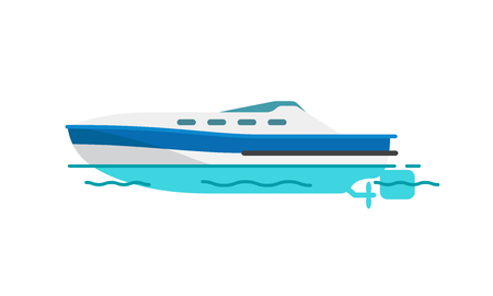Motor boat or sailboat vector illustration isolated on white. Fishing vessel, speedboat marine nautical type of transport in flat style Illustration