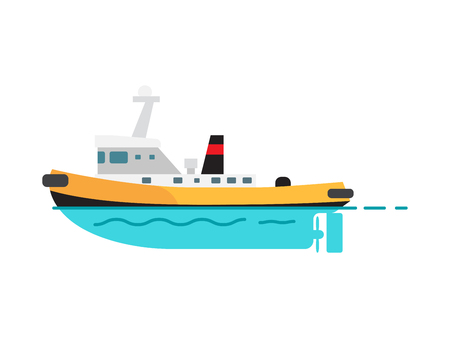 Steamboat vector illustration isolated on white. Fishing vessel, speed boat marine nautical type of transport in flat style, motorboat icon Ilustração