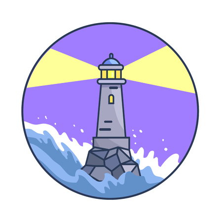 A Vector illustration of lighthouse during night while waves are rising and sea is raging due to storm. Circle banner depicting rough water.