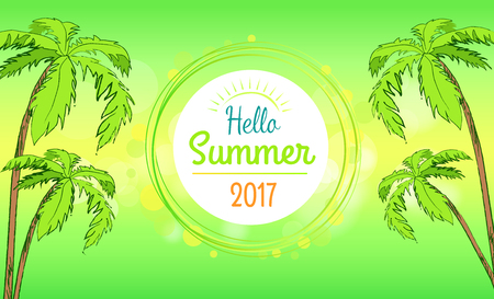 Hello summer time banner in round frame, vector illustration of multiple tall palm trees isolated on green-and-yellow background