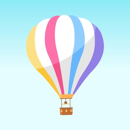 Airballoon avec icône de rayures colorées isolé sur blanc. Illustration vectorielle de gros objet pour voyager en avion et regarder des paysages pittoresques avec panier pour les personnes. Moyens de transport aériens
