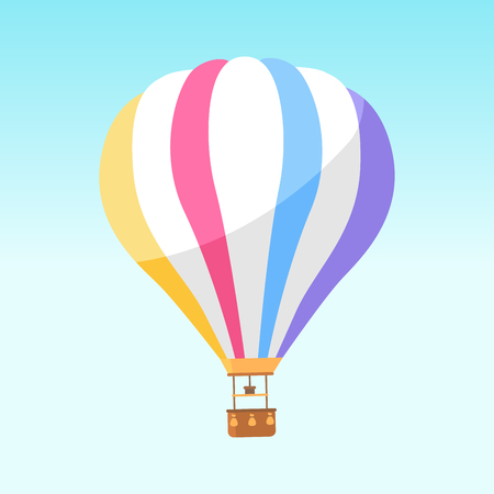 Airballoon with colorful stripes icon isolated on white. Vector illustration of big object for travelling by air and watching scenic landscapes with basket for people. Air means of transportation