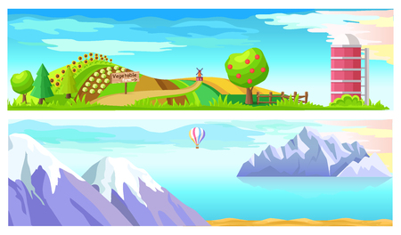Two horizontal images vector illustration. Fruit and fir trees, cabbage and sunflowers, water tower and red mill on green ranch. Snow-capped mountains, sea calm and striped balloon on second picture.