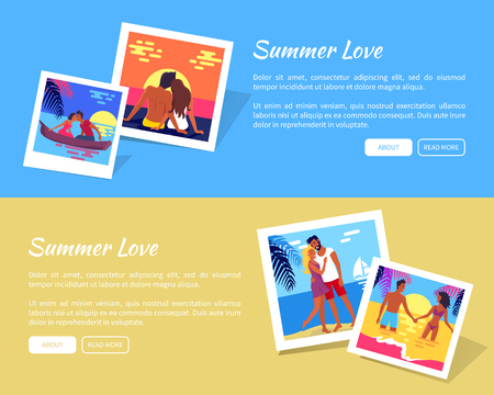 Set of banner with Summer love concept vector illustration