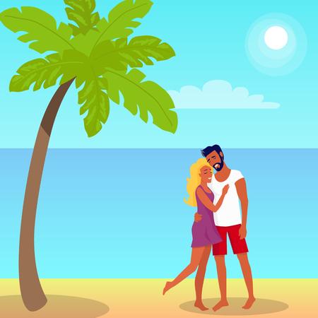 Couple stands and hugs on on beach under the palm tree Illusztráció