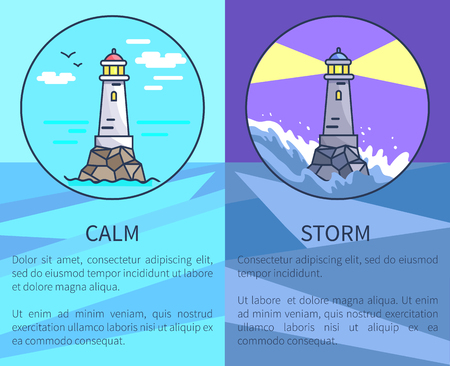 contrastive: Set of Posters Depicting Lighthouses with Text