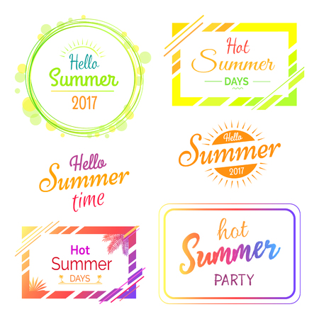 Set of stickers with Summer concept vector illustration