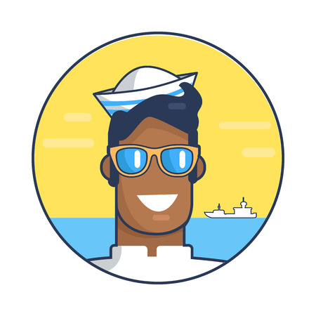 Poster depicting sailor against sea background