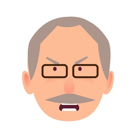 Irritated facial expression of elderly man vector illustration
