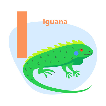 Zoo ABC Letter with Cute Iguana Cartoon Vector