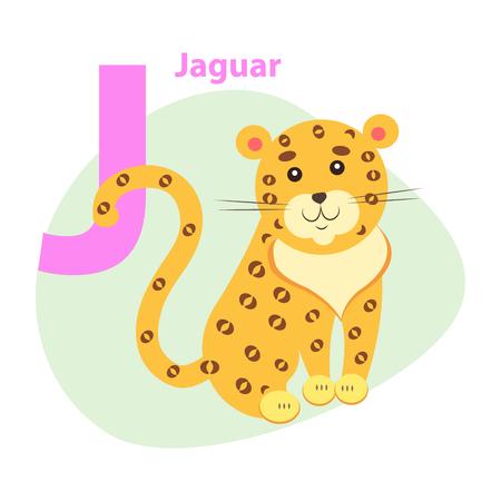 ABC Letter with cute jaguar cartoon vector illustration Illustration