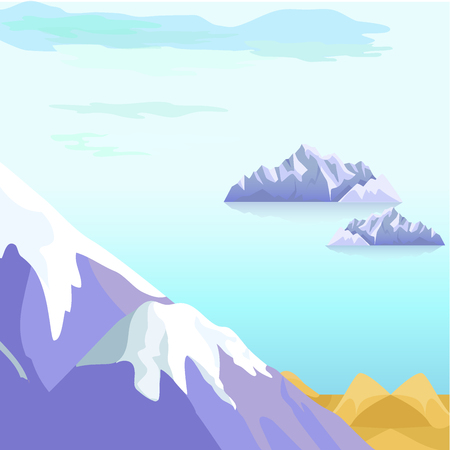 Beautiful Vector landscape with icebergs in the sea