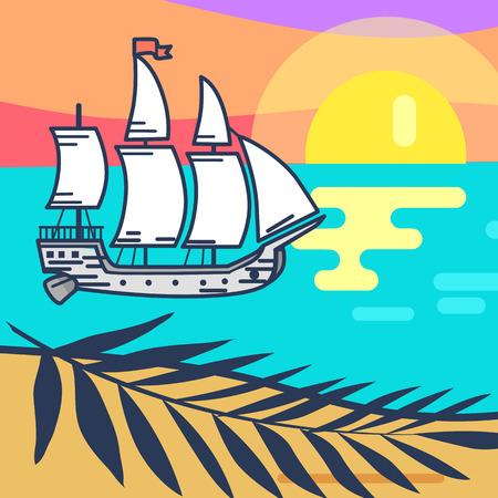 목조 선박, 모래 해변과 일몰 바다 일러스트