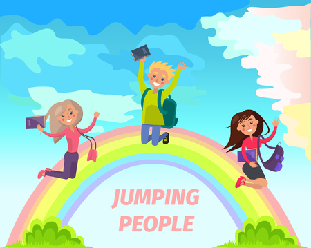 Jumping people flat vector summer concept Illustration