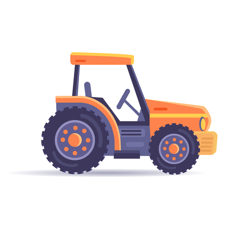 Excavator Tractor Vehicle Isolated on White Vector