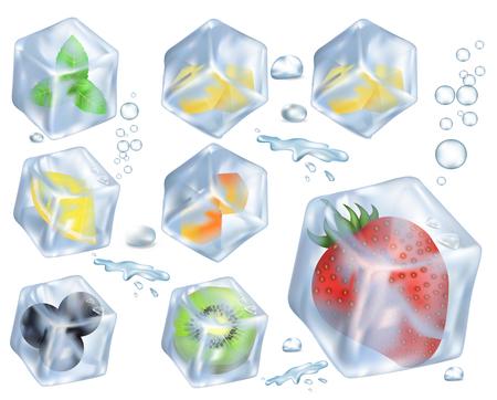 アイスベクトルイラストで冷凍フルーツ、ベリー、ハーブのセット