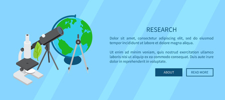 Research Template Banner with Scientific Tools Illustration