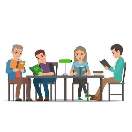 Mensen die boeken in beeldverhaalstijl lezen Stock Illustratie