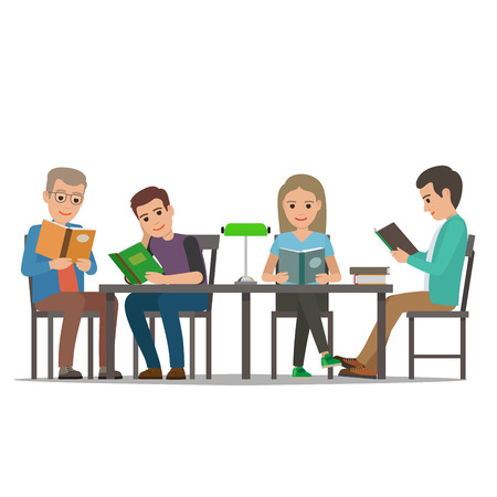 People reading books in cartoon style Illustration