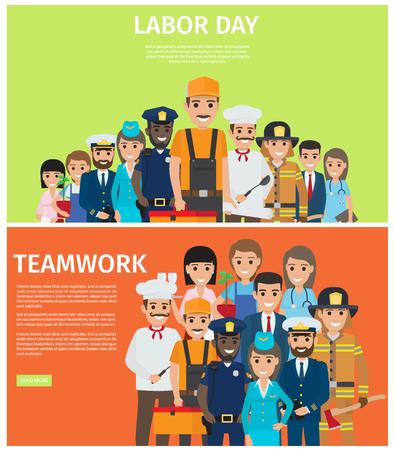 Dag van de arbeid en Teamwork Flat Vector Web Banners Stock Illustratie