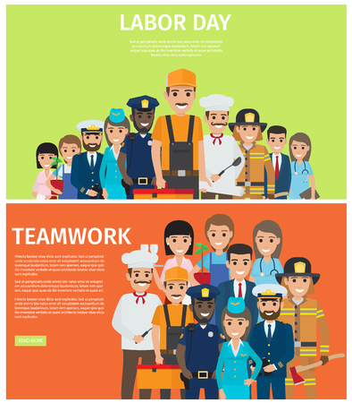 Labor Day and Teamwork Flat Vector Web Banners