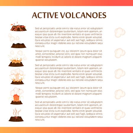 Actieve vulkanen Flat Vector Banner