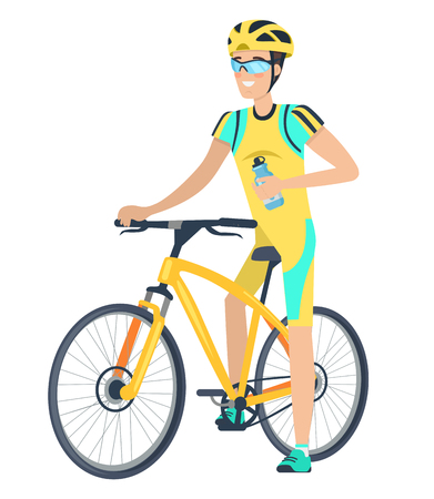 Cyclist on bike icon over white background vector illustration
