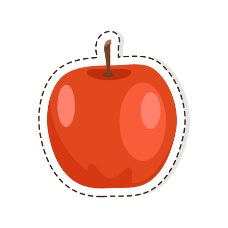 Red Apple flat vector isolated Sticker or icon Illustration