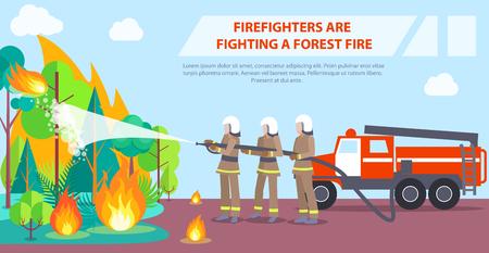 森林火災と闘う消防士のポスター  イラスト・ベクター素材