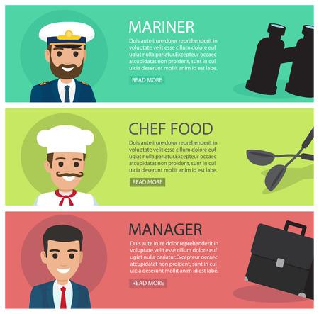 People with professions flat vector web banners Illusztráció