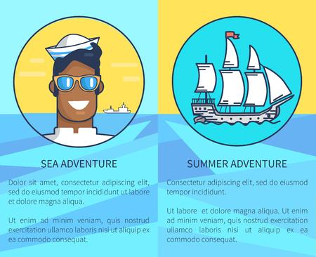 Set of poster for sea and summer adventures Ilustração