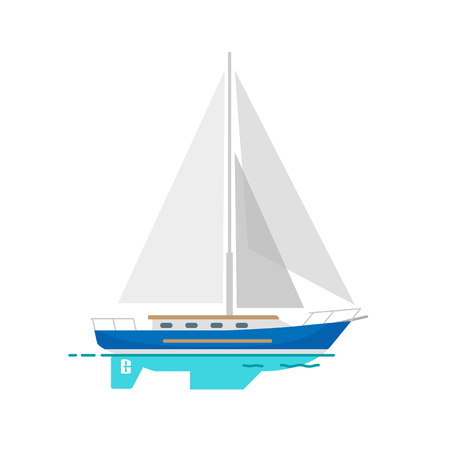 Yacht Sailboat with White Canvas on Water Surface Stok Fotoğraf - 89909247