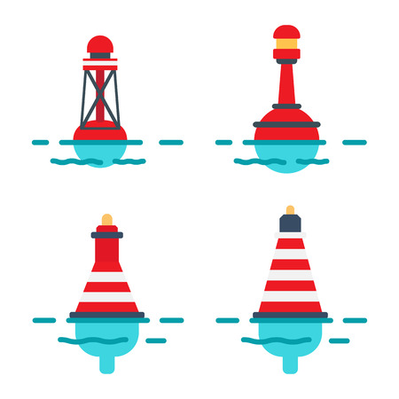 Striped Buoys in Water Isolated Illustrations Set Vectores