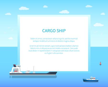 Spacious empty cargo ship on calm water surface