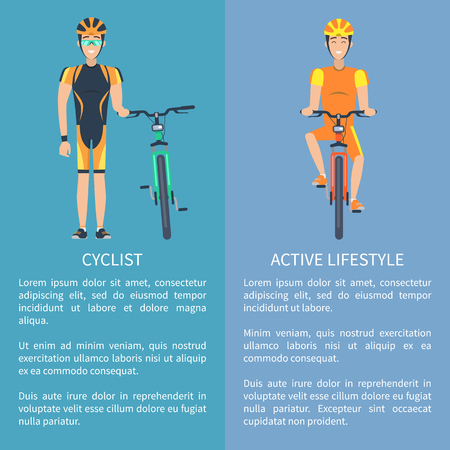 Cyclist and Active Lifestyle Set of Posters