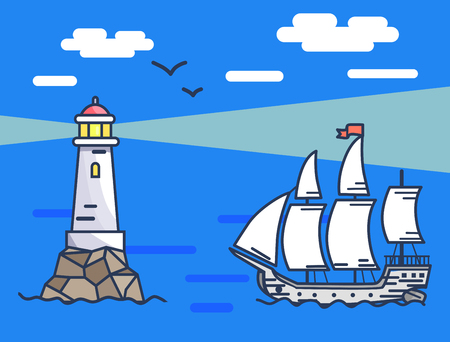 Banner depicting lighthouse and ship at sea Ilustração