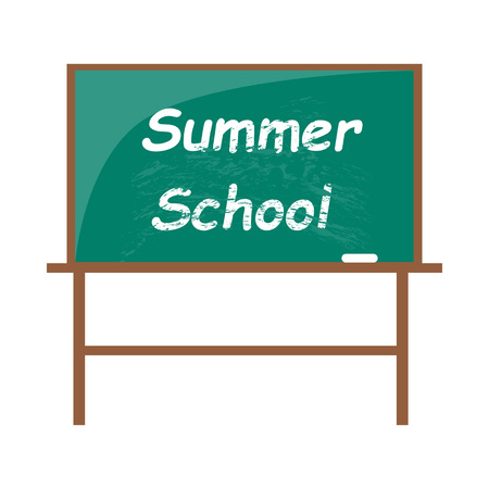 Summer school blackboard with piece of chalk Иллюстрация